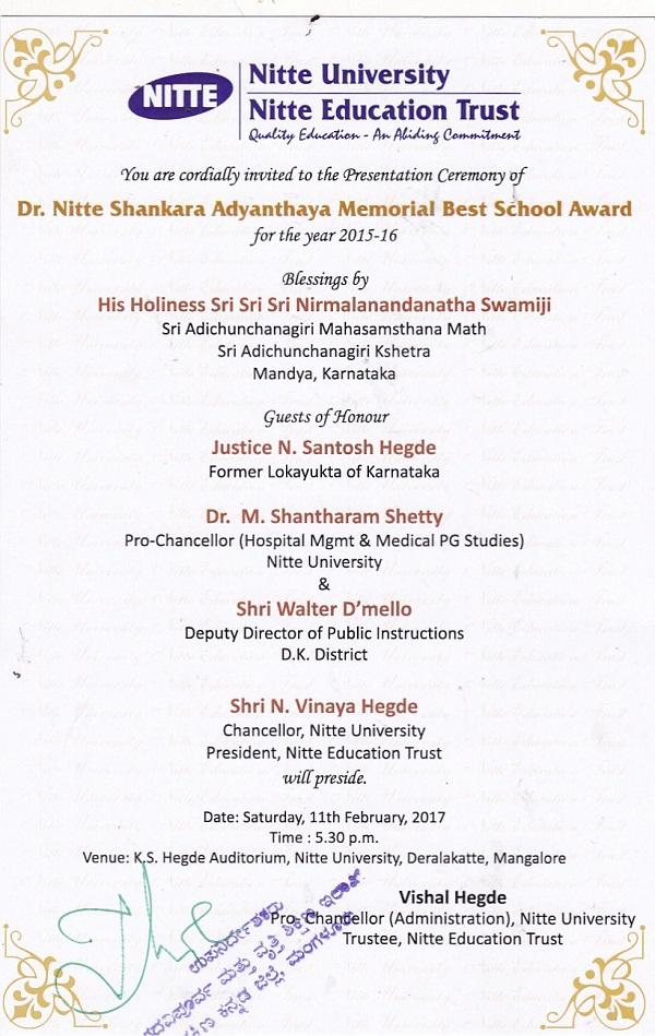 nitte invitaiton best school 2
