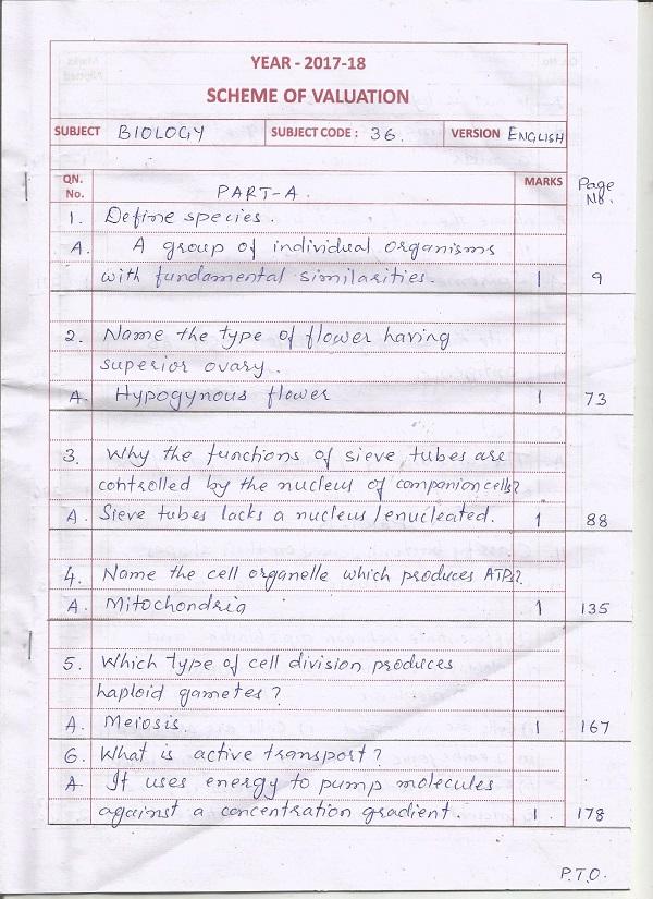 BIOLOGY ANSWER KEY | Dakshinakannada Pre-University College